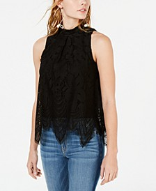 Juniors' Sleeveless Lace Top