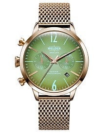 WELDER Women's Rose Gold-Tone Stainless Steel Mesh Bracelet Watch 38mm