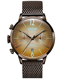 WELDER Men's Brown Stainless Steel Mesh Bracelet Watch 42mm