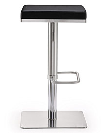 Bari Black Steel Adjustable Barstool