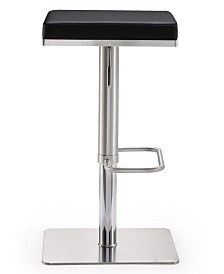 Bari Black Steel Adjustable Barstool