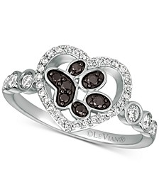 Nude™ & Blackberry® Diamond Paw Print Heart Ring (3/8 ct. t.w.) in 14k White Gold