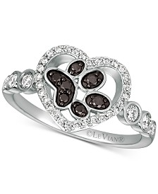 Le Vian® Nude™ & Blackberry® Diamond Paw Print Heart Ring (3/8 ct. t.w.) in 14k White Gold