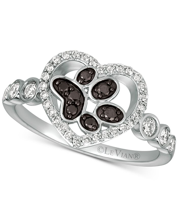 Le Vian - Nude™ & Blackberry® Diamond Paw Print Heart Ring (3/8 ct. t.w.) in 14k White Gold