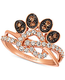 Le Vian Heart & Paw Print Nude™ & Chocolate® Diamond Ring (5/8 ct. t.w.) in 14k Rose Gold