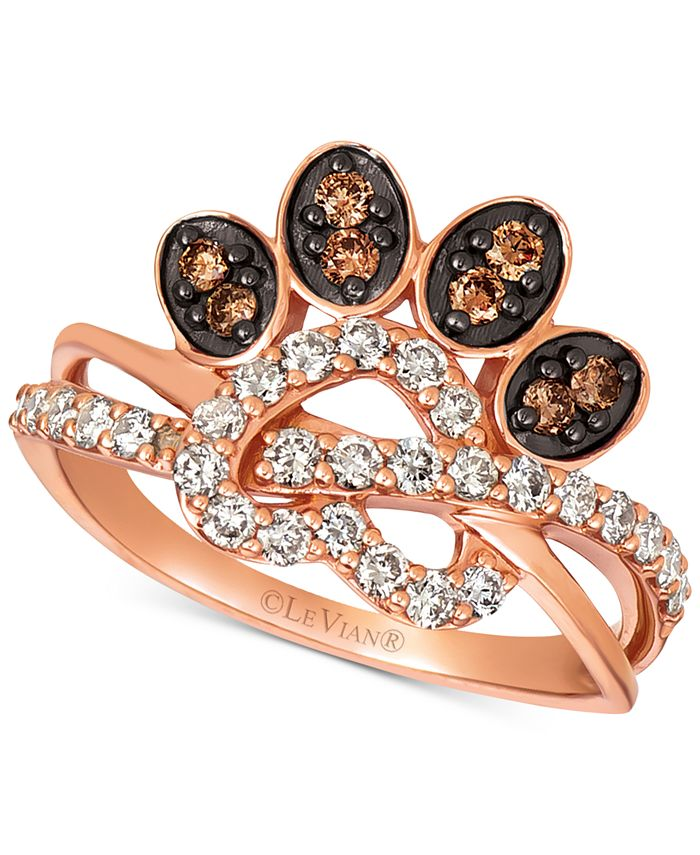 Le Vian - Heart & Paw Print Nude™ & Chocolate® Diamond Ring (5/8 ct. t.w.) in 14k Rose Gold