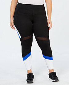 Calvin Klein Performance Plus Size Colorblocked Mesh-Trimmed Ankle Leggings