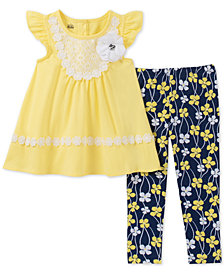 Kids Headquarters Toddler Girls 2-Pc. Lace-Trim Tunic & Floral-Print Leggings Set
