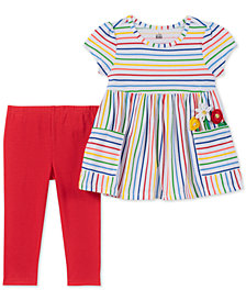 Kids Headquarters Toddler Girls 2-Pc. Rainbow Stripe Tunic & Leggings Set