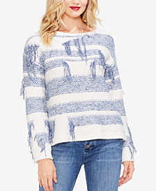 Vince Camuto Striped Fringe Sweater