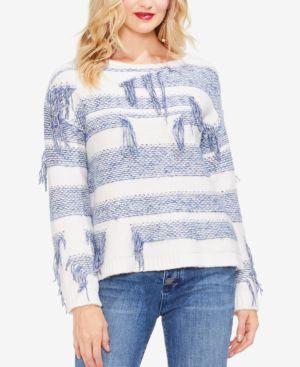 VINCE CAMUTO Striped Fringe-Trim Sweater in Indigo Night