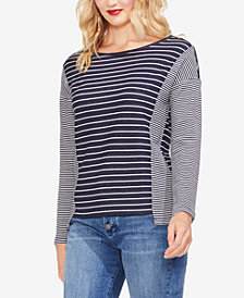 Vince Camuto Mixed Striped Jersey Top