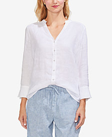 Vince Camuto Linen Split-Neck Button-Front Shirt