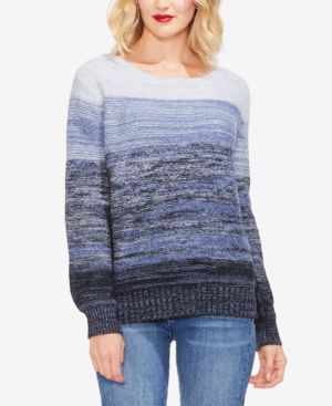 Ombre Bubble-Sleeve Sweater in Ink Blue