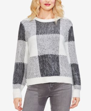 VINCE CAMUTO Check Patchwork Sweater in Antique White