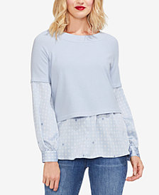 Vince Camuto Mixed-Media Boat-Neck Top