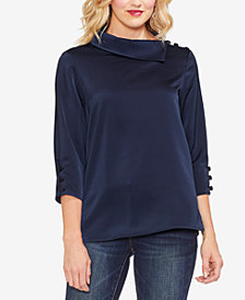 Vince Camuto Envelope-Collar Button-Trim Blouse