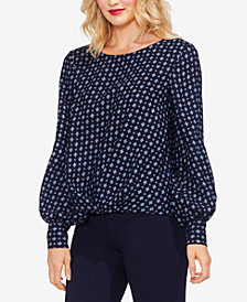 Vince Camuto Printed Satin High-Low Blouse