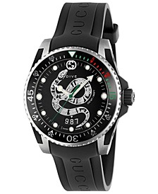 Men's Swiss Diver Black Rubber Strap Watch  40mm