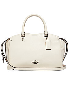 COACH Drew Satchel in Pebble Leather with Snakeskin Detail