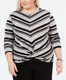 Monteau Trendy Plus Size Twist-Front Top