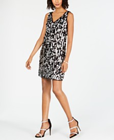 Adrianna Papell Metallic Sequin Shift Dress