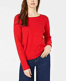 Maison Jules Lace-Up Low-Back Sweater, Created for Macy's