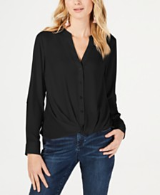 I.N.C. Plus Size Twist-Front Shirt, Created for Macy's