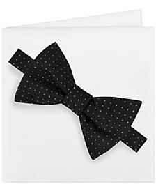 Michael Kors Men's Formal Party Pindot Bow Tie & Pocket Square Set