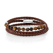 Brown Leather and Tiger Eye Bead Triple Wrap Bracelet with Stainless Steel Clasp, 26""