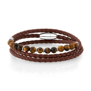 Brown Leather and Tiger Eye Bead Triple Wrap Bracelet with Stainless Steel Clasp