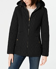 Jones New York Hooded Quilted Puffer Coat
