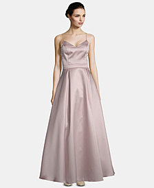 XSCAPE Bow-Back Satin Gown