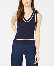 Maison Jules Cotton Sweater Vest, Created for Macy's