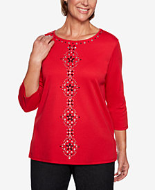 Alfred Dunner Petite Grand Boulevard Studded Scoop-Neck Top