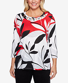 Alfred Dunner Petite Grand Boulevard Embellished Printed Top