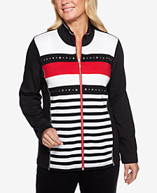 Alfred Dunner Petite Grand Boulevard Striped Knit Jacket