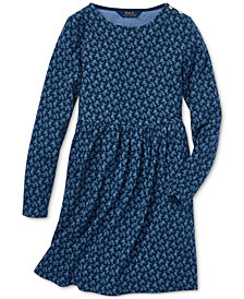 Polo Ralph Lauren Big Girls Floral-Print French Terry Cotton Dress