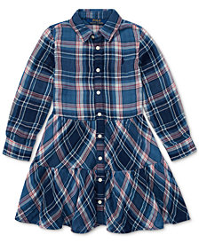 Polo Ralph Lauren Little Girls Western Plaid Cotton Shirtdress