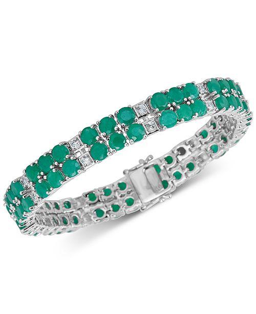 Macy's Emerald (18 ct. t.w.) & White Topaz (2 ct. t.w.) Tennis Bracelet in Sterling Silver