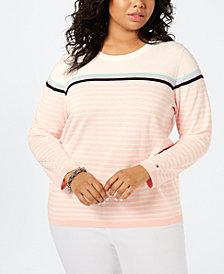 Tommy Hilfiger Plus Size Cotton Striped Sweater