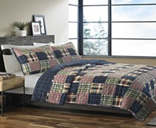 Eddie Bauer Madrona Navy Plaid Twin Quilt Set