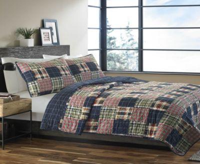 Eddie Bauer Madrona Navy Plaid Twin Quilt Set