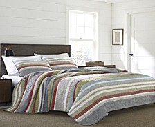 Salmon Ladder Stripe Full/Queen Quilt Set