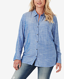 Jessica Simpson Juniors' Xavier Striped Button-Front Shirt