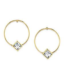 2028 14K Gold Dipped Diamond Shape Crystal Hoop Stainless Steel Post Earring