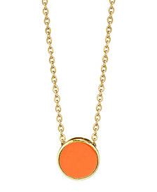 2028 14K Gold Dipped Large Round Enamel Necklace 16""