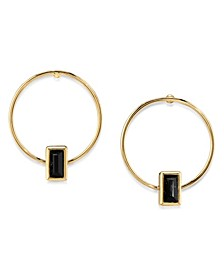 14K Gold Dipped Rectangle Crystal Hoop Stainless Steel Post Small Earrings