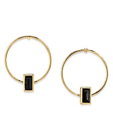 2028 14K Gold Dipped Rectangle Crystal Hoop Stainless Steel Post Earring