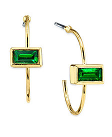 2032 14K Gold Dipped Rectangle Crystal Open Hoop Stainless Steel Post Earring